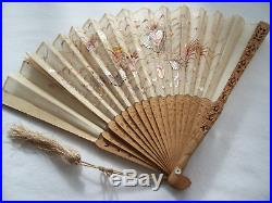 Antique Chinese Canton Boxwood Hand Embroidered Silk Dragon Fan In Original Box