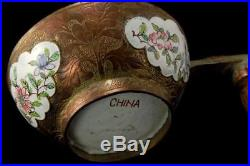 Antique Chinese Canton Enamel Hardstone Dragon Handle Cup D81-04