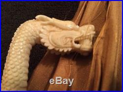 Antique Chinese Carved Bovine Bone FOLDING Parasol with Dragon 1800's China