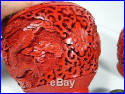 Antique Chinese Carved Lacquer Cinnabar Pair of Covered Vases Dragon Scene