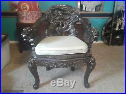 Antique Chinese Carved Wood Dragon Arm Chair