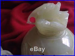 Antique Chinese Celadon Jade Censer Foo Dog Lion Dragon Ring Incense Burner Rare
