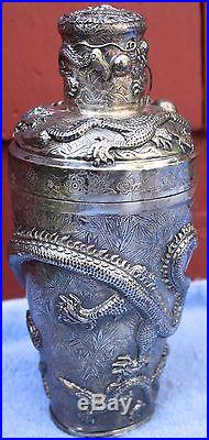 Antique Chinese Chasing Dragon Sterling Silver Drink Shaker & 12 cups 1142 grams
