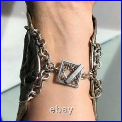 Antique Chinese China Export Silver Dragon Sterling Bracer Cuff Repousse Rare