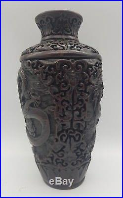 Antique Chinese Cinnabar Lacquerware Hand Carved Dragon Vase SIGNED
