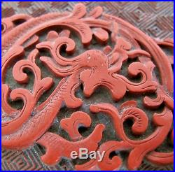 Antique Chinese Cinnabar Red Lacquer Box with Flowers & Baby Dragon (4 long)