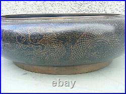 Antique Chinese Cloisonne Bowl Dragon Signed 4 Character Mark Large
