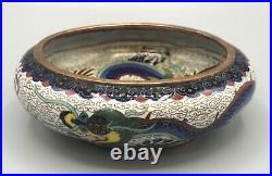 Antique Chinese Cloisonne Dragon Bowl / Brush Washer