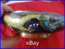 Antique Chinese Cloisonne Dragon Bowl Tongzhi Mark