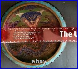 Antique Chinese Cloisonne Dragon Flaming Pearl Bowl Guangxu Period (1875-1908)