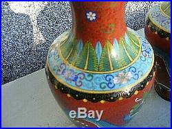 Antique Chinese Cloisonne Dragon Vases Pair