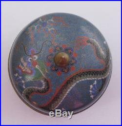 Antique Chinese Cloisonne Enamel Covered Lidded Box Dragon Floral Cobalt Black
