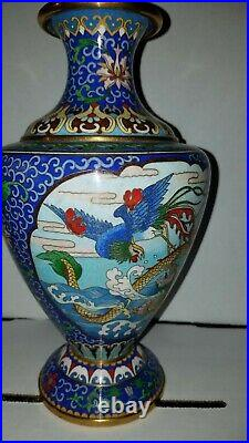 Antique Chinese Cloisonne Two Sided Enamel Four Claw Dragon & Peacock Vase 10