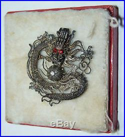 Antique Chinese DRAGON Silver Pin Asian legendary Ruby Eyes withBox b10
