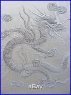 Antique Chinese Dragon Dragon Silk Embroidery Screen