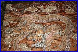 Antique Chinese Dragon Embroidered Textile Forbidden Stitch Gold Silk Japanese