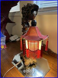 Antique Chinese Dragon Hand Carved Wood Table Lamp Stand With Pagoda Shade (Works)