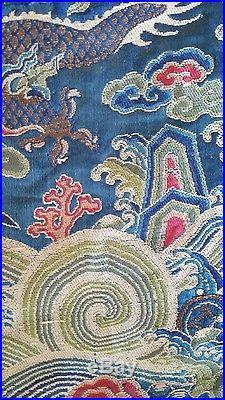 Antique Chinese Dragon Silk Kesi Chair Cover