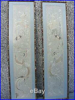 Antique Chinese Embroidered Dragon Pictures In Silk Tapestry