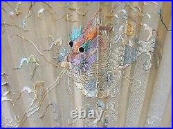 Antique Chinese Embroidered Fan Hand Face Dragon With Cased