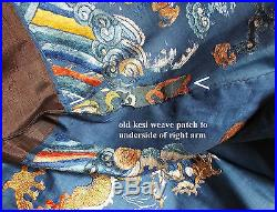 Antique Chinese Embroidered Silk Dragon Robe