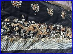 Antique Chinese Embroidered Silk Dragons Front Of Table Embroidery Qing Dynasty