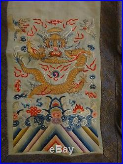 Antique Chinese Embroidered Silk Skirt. Lt. Qing Dynasty. Five claw dragons