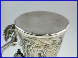 Antique Chinese Export 19th Century Solid Silver Dragon Mug Circa 1880