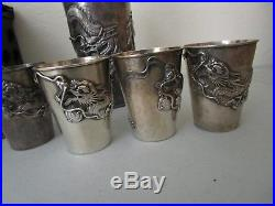 Antique Chinese Export Cocktail Shaker and Cups Dragon Design Silver