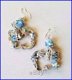 Antique Chinese Export Dragon Earrings Gilt Sterling Enamel Filigree Lg Square