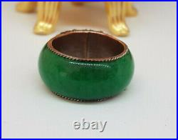Antique Chinese Export Silver & Green With Dragon Ring Signed