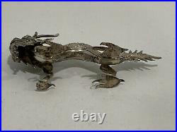 Antique Chinese Export Silver Kwan Man Shing Signed Dragon Figurine
