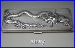 Antique Chinese Export Silver Marked Repousse Dragon Cigarette Case 190 Gram