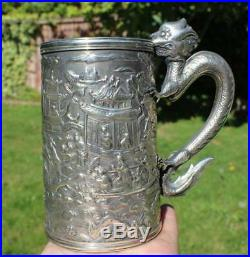 Antique Chinese Export Solid Silver Dragon Handle Mug c. 1861 (R2999A)