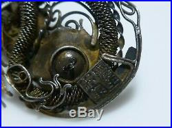 Antique Chinese Export Sterling Silver Carnelian Dragon Filigree Old Brooch Pin