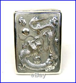 Antique Chinese Export Sterling Silver Cigarette Case Box Dragon