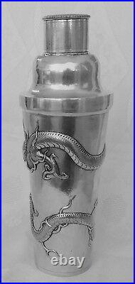 Antique Chinese Export Sterling silver Cocktail Shaker Dragon