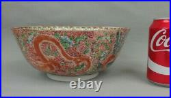 Antique Chinese Famille Verte Porcelain Bowl W Dragons & Phoenix 19th C