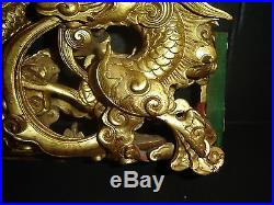 Antique Chinese Giltwood Relief Carved Dragon Panel Museum Piece Qing Dynasty