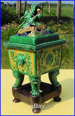Antique Chinese Glazed Ceramic Figural Dragon Censer Vase w Stand Marked