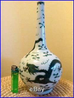 Antique Chinese Green Enamel Porcelain Dragon Bottle Vase Daoguang Mark