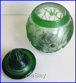 Antique Chinese Green Peking Glass Jar and Lid Dragon Phoenix & Flaming Pearls