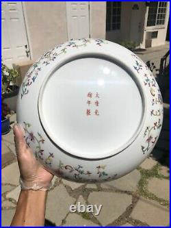 Antique Chinese Guangxu Signed Famille Porcelain Charger Plate Double Dragon Art