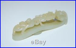 Antique Chinese Hand Carved Jade Dragon Belt Buckle