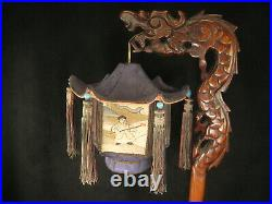 Antique Chinese Hand Carved Rosewood Dragon Lamp Silk Shade