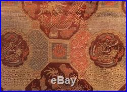 Antique Chinese Imperial Dragon Embroidery Large Embroidered Silk Panel c1800