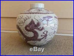 Antique Chinese Imperial porcelain jar lavender grisaille dragon Daoguang M&P
