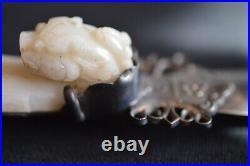 Antique Chinese Jade Incised Figural Dragon Belt Hook Buckle Letter Opener