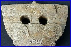 Antique Chinese Jade Liangzhu Dragon Face Shield, Social Rank Pendant, Ancient