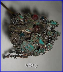 Antique Chinese Kingfisher & Tourmaline Silver Dragon dangling Hair Pin Pre-1920